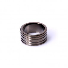 5-Ribbed Black Steel Cockring