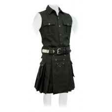 Black Fabric Scottish Kilt