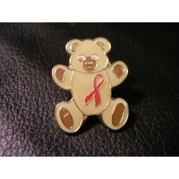 Bear Red Ribbon Pin