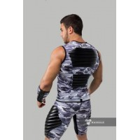 Maskulo. Armored. Men's Fetish Tank Top. Spandex. Front Pads. Camo Grey