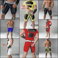 Maskulo zippered American Football Shorts with Codpiece
