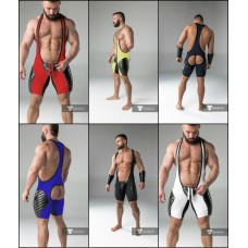 Backless Padded Wrestling Singlet with Codpiece