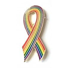 Small Rainbow Ribbon Pin 2