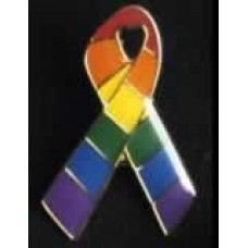 Small Rainbow Ribbon Pin